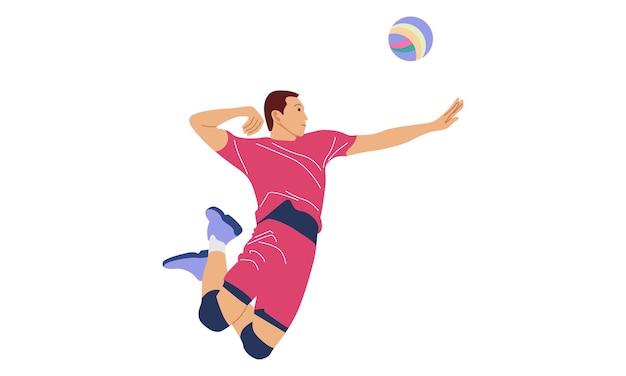 Volleyballspieler, der ball dient