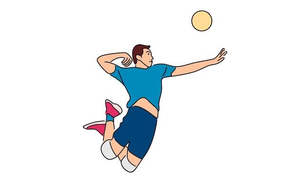 Volleyballspieler, der den ball dient
