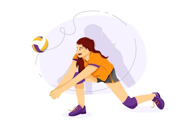 Volleyballspieler, die volleyball im boden spielen