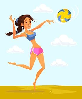 Volleyballspieler frau charakter. flache karikaturillustration