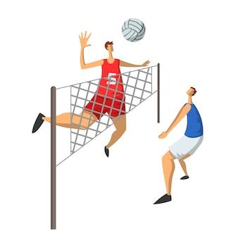Volleyballspieler im abstrakten flachen stil. abbildung auf weiß isoliert