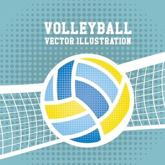 Volleyballsport über punktierter hintergrundvektorillustration