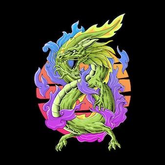 Vollfarbige illustration des drachen