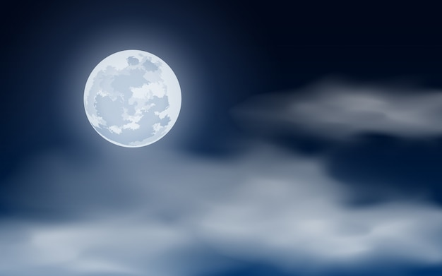 Vollmond am bewölkten nachthimmel
