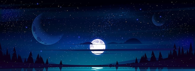 Vollmond im nachthimmel mit sternen und wolken über bäumen und teich, die sternenlicht reflektieren