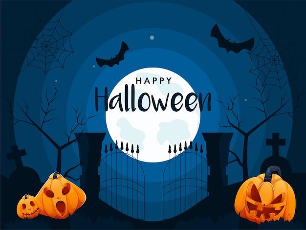 Vollmondblauer friedhofshintergrund mit fliegenden fledermäusen und jack-o-laternen für glückliche halloween-feier.