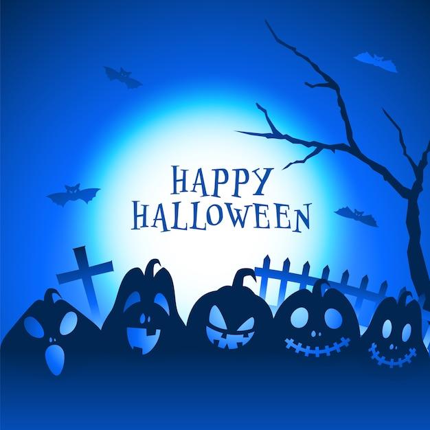 Vollmondblauer hintergrund mit jack-o-laternen, nacktem baum, grabstein und fliegenden fledermäusen für glückliche halloween-feier.