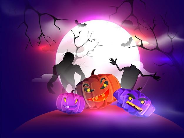 Vollmondnacht mit gruseligen kürbislaternen und monstern für die halloween-nacht. Premium Vektoren