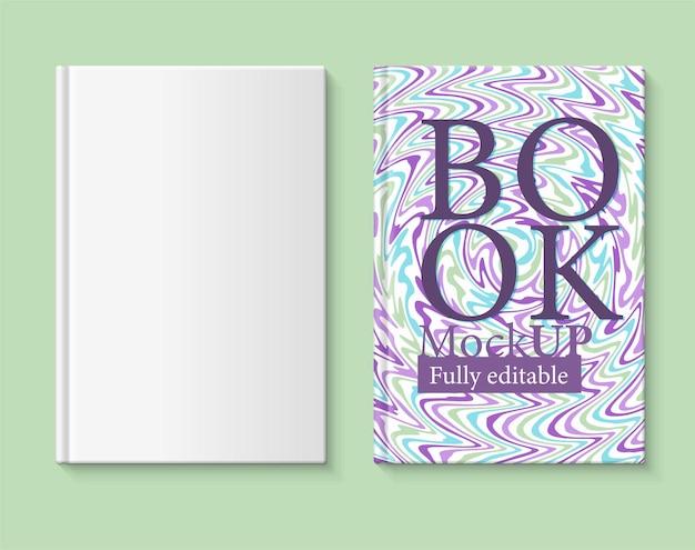 Vollständig bearbeitbares buchmodell bucheinband mit marmoriertem papier in den farben violett-türkis und grün