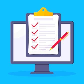 Vollständige checkliste mit häkchen über dem computer