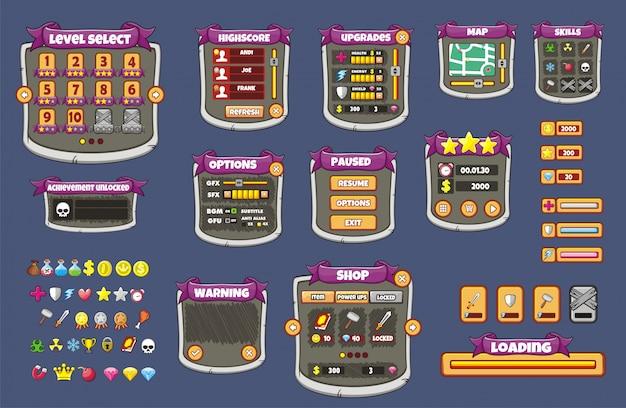 Vollständiger satz einer grafischen benutzeroberfläche (gui) zum erstellen von 2d-spielen und -anwendungen