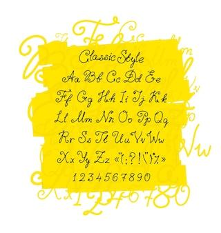 Vollständiger satz handgeschriebener schriftart klassische kalligraphische schriftart