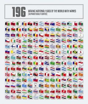 Vollständiger satz wehende nationale flaggen der welt