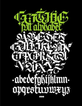 Vollständiges alphabet im gotischen stil vektorbuchstaben und symbole auf schwarzem hintergrund