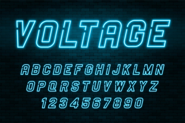 Voltage neon light alphabet, realistische, extra leuchtende schrift