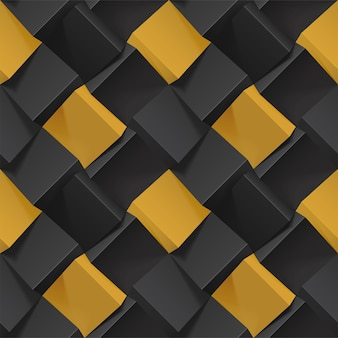 Volumetrische abstrakte textur mit schwarzen und goldenen würfeln. realistisches geometrisches nahtloses muster für hintergründe, tapeten, textilien, stoff und geschenkpapier. fotorealistische illustration.