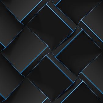 Volumetrische abstrakte textur mit schwarzen würfeln mit dünnen linien. realistisches geometrisches nahtloses muster für hintergründe, tapeten, textilien, stoff und geschenkpapier. realistische illustration.
