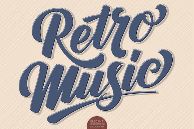 Volumetrische handgezeichnete schriftzug retro music