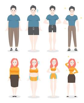 Vom fetten zum passenden konzept. frau und mann mit fettleibigkeit verlieren gewicht. schlankheitsfortschritt, fitnessübung. illustration