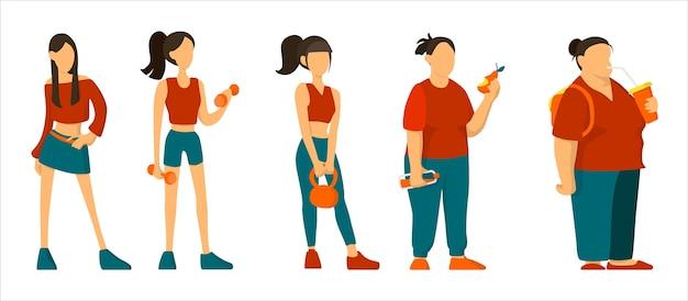 Vom fit zum fat concept. frau wird fett. konzept für ungesunde ernährung und gewichtszunahme.