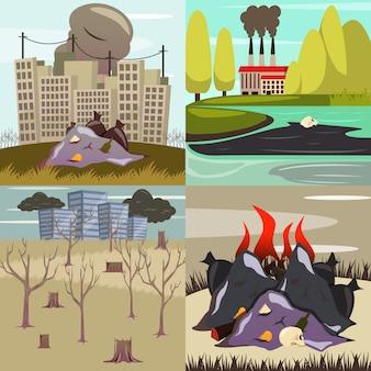 Vom menschen verursachte katastrophen orthogonale ikonen