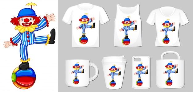 Von clown auf verschiedenen arten von produktvorlagen