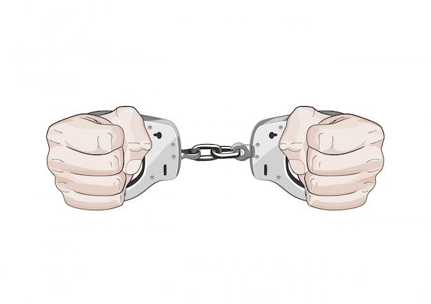 Von der polizei festgenommen. hände in manschetten. freiheit eingeschränkt. grafische darstellung isoliert