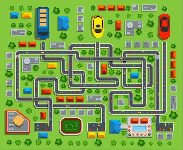 Von der stadt draufsicht. kinderspiellabyrinth. vektorillustration.