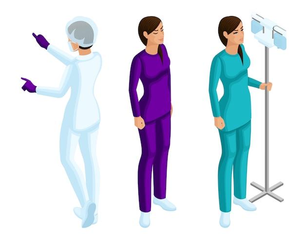 Von einer ärztin, einer krankenschwester, schönen mädchen in medizinischer kleidung während des arbeitsprozesses