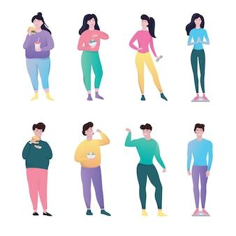 Von fett bis schlank. idee des gewichtsverlusts