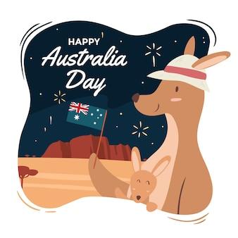 Von hand gezeichnet für australien-tagesereignis