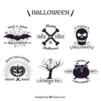 Von hand gezeichnet halloween-abzeichen packen