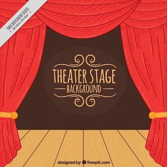 Von hand gezeichnet hintergrund der theaterbühne