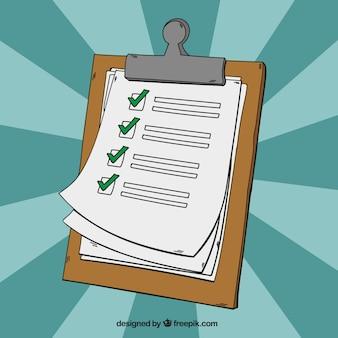 Von hand gezeichnet hintergrund der zwischenablage mit checkliste