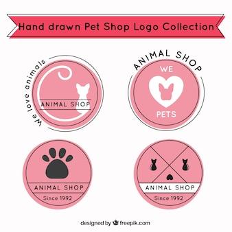 Von hand gezeichnet logos mit rosa hintergründe