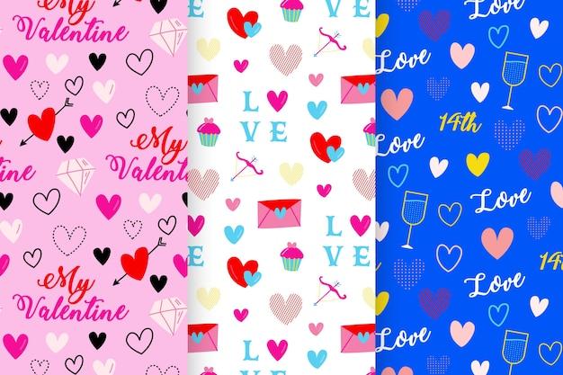 Von hand gezeichnet mit valentinsgrußtagesmustersammlung