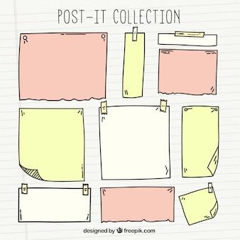 Von hand gezeichnet papier notizen mit verschiedenen größen