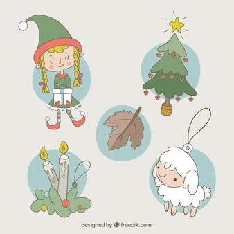 Von hand gezeichnet set mit dekorativen ornamenten für weihnachten