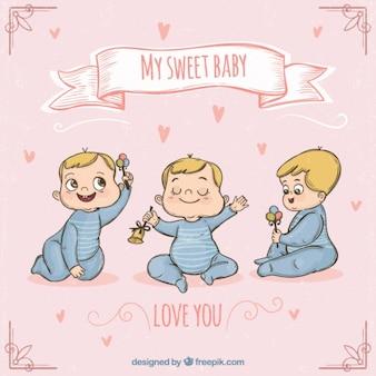 Von hand gezeichnet set von schönen baby