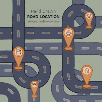 Von hand gezeichnet straßenkarte mit fünf sehenswürdigkeiten