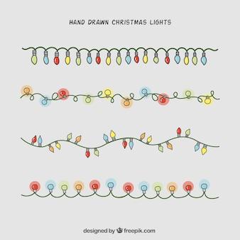 Von hand gezeichnet weihnachtsbeleuchtung sammlung