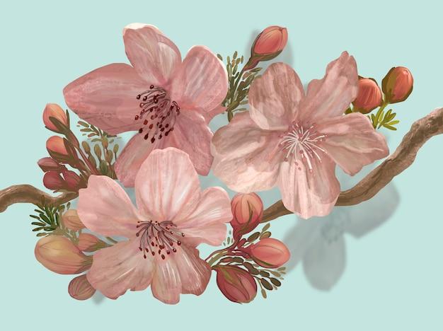 Von hand gezeichnete blühende kirschblüte auf einer niederlassung
