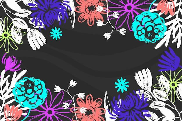 Von hand gezeichnete blumen auf tafelhintergrund