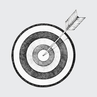 Von hand gezeichnete dartboard- und pfeilillustration