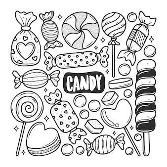 Von hand gezeichnete doodle-färbung der süßigkeiten-symbole