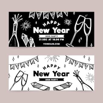 Von hand gezeichnete fahnen der party des neuen jahres
