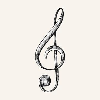 Von hand gezeichnete g-notenschlüssel-notenillustration