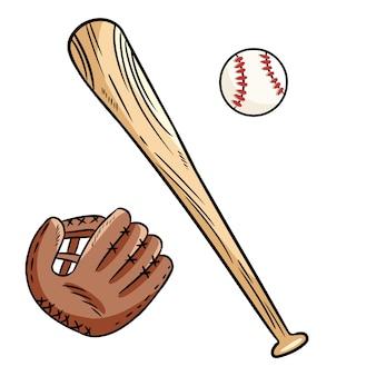 Von hand gezeichnete gekritzel des baseballballs, der kappe und des schlägers