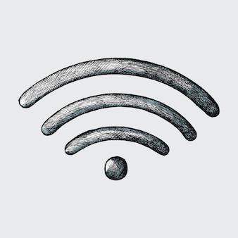 Von hand gezeichnete illustration des drahtlosen internets