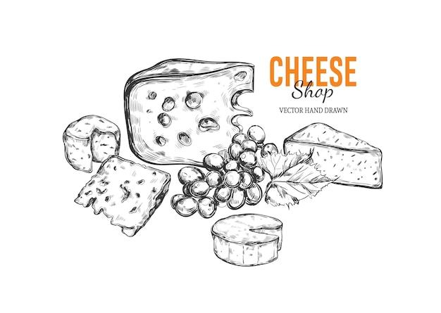 Von hand gezeichnete illustration des käses im weinlese-gravierten stil